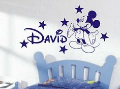 Mickey Mouse Personalised boys bedroom wall by Vinylgraphicsonline, £12.99
