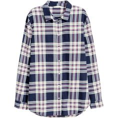 H&M Flannel shirt (31 CAD) ❤ liked on Polyvore featuring tops, shirts, flannel, plaid, button up, tartan flannel shirt, plaid flannel shirt, shirts & tops, collared shirt and flannel shirt