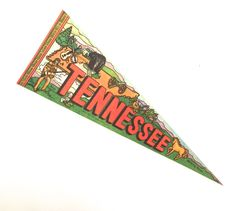 Tennessee Souvenir Pennant, Vintage Printed Felt Flag by planetalissa on Etsy