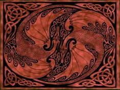Second Life Marketplace Red Celtic Dragon Rug Or Tapestry Celtic Patterns, Celtic Designs, Celtic Pride, Viking Culture, Celtic Heart, Celtic Dragon, Tribal Art, Graphic Art, Fantasy Art