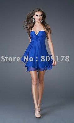 Short royal blue semi-formal dress with strapless sweetheart neckline and flowing hem Grad ceremony mini dress $103.16