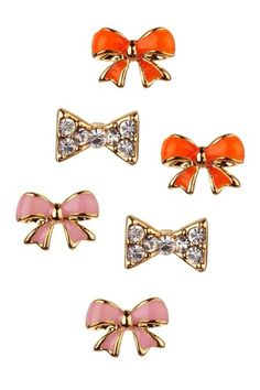 studs. I think the orange ones would look great with a navy top!