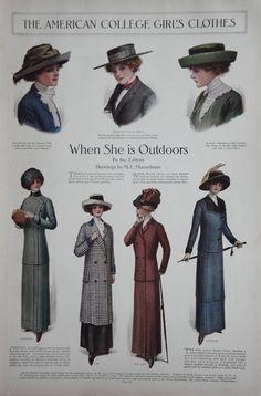 1911 Ladies Home Journal Fashion Page Edwardian Hat's Dresses Coats Musselman
