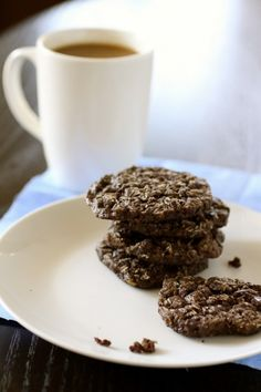 Chocolate Espresso Oatmeal Cookies (The Curvy Carrot)