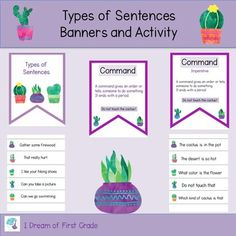 These four banners define four sentence types. StatementQuestionCommand ExclamationThere are two versions of the banners to choose from. Laminate and hang them in your classroom. The product also includes a sorting activity. Sentence Types, Types Of Sentences, Sentence Strips, Sorting Activities, Second Grade, Phonics, Banners, Cactus, Language