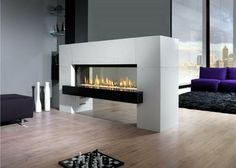 Awesome Wooden Floor Design Feat Captivating Natural Gas Fireplace Room Divider Idea Also Purple Couch Stunning Natural Gas Fireplace Creating Classic Nuance Fireplace Design Ventless Natural Gas Fireplace, Vent Free Gas Fireplace, Two Sided Fireplace, Linear Fireplace, Home Fireplace, Fireplace Design, Fireplace Ideas, Floating Fireplace, Fireplace Garden