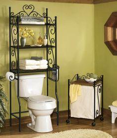 Bathroom Shelf Decor, Bathroom Crafts, Bathroom Rack, Bathroom Storage Shelves, Wrought Iron Decor, Iron Wall Decor, Washroom Design, Bathroom Interior Design, Shelves Over Toilet
