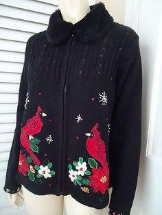 TIARA INTERNATIONAL Sz M Ugly Christmas Sweater Collection Zip Applique Beads