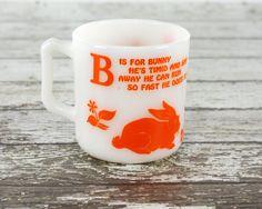 Vintage Hazel Atlas Bunny Mug Milkglass Cup B is by GizmoandHooHa, $18.00
