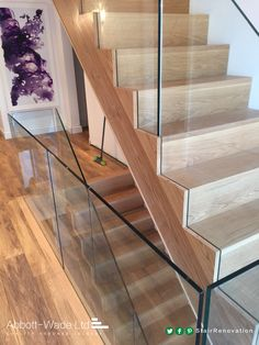 oak flight with frameless glass balustrade Basement Staircase, Oak Stairs, Entry Stairs, Glass Stairs, Staircase Railings, House Stairs, Carpet Stairs, Staircase Design, Glass Stair Balustrade