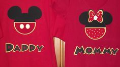Minnie Mickey Mouse Clubhouse - Disney Birthday Party Custom Red Black Yellow V-Neck T-Shirt Personalized Applique Tee Shirt Top. $17.00, via Etsy.