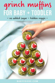 These Healthy Grinch Mini Muffins are the perfect holiday treat for baby and toddler! Made with no added sugar and packed with spinach - these muffins can be served for breakfast, lunch, snack or even a festive dessert! #baby #toddler #muffins #grinch #christmas Healthy Muffin Recipes, Baby Puree Recipes, Healthy Muffins, Baby Food Recipes, Toddler Recipes, Kitchen Recipes, Yummy Recipes, Dessert Recipes, Desserts