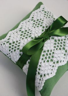 Wedding Ring Pillow Vintage Crocheted Lace With Emerald Green. (perfect color!)