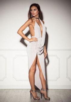 Silver Plunge Draped Hi-Lo Dress - Dresses Junior Outfits, Sexy Outfits, Sexy Dresses, Dress Outfits, Nice Dresses, Sophia Miacova, Girl Fashion, Womens Fashion, Elegant Outfit