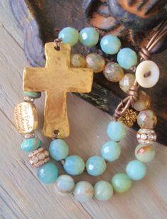 Sideways cross bracelet 'Sacrifice' blue green opal by slashKnots, $47.00
