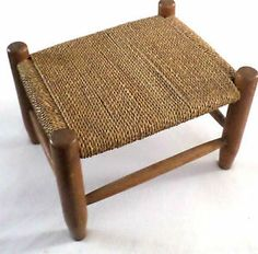 Antique Small Caned Primitive Wooden Foot Stool, Shaker Style, Woven Rope Top. $75