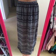 LA: Hearts maxi skirt Super cute and trendy maxi skirt from LA hearts! Black and white tribal print. Elastic waistband. Excellent condition. Slits on both sides come up from bottom about 20 inches. 13 inches from top has a black skirt underneath, the rest is sheer. One small snag near the bottom in front but it's unnoticeable because of the fun pattern! Perfect for spring and summer and any festivals you want to attend this year! Worn once. LA Hearts Skirts Maxi