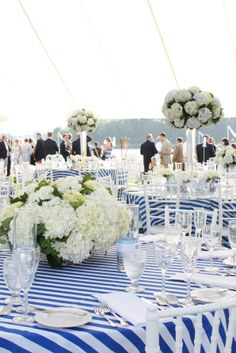 Floral: Jackson Durham #jacksondurham #weddingfloral #Kennebunkport #Maine #blueandwhitewedding #blueandwhite