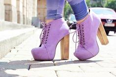 purple high heel boots