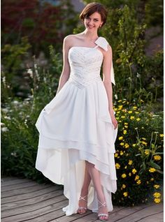 Corte A/Princesa Un sólo hombro Asimétrico Gasa Vestido de novia con Volantes Bordado