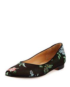 50b90f9f86 MANOLO BLAHNIK Evangeline Floral-Print Fabric Flat.  manoloblahnik  shoes   flats