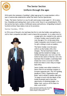 Senior Guides - 1916  From Girlguiding Scotland - series of posters for Senior Section Spectacular depicting uniforms through the ages