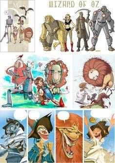 Various Styles of The Wizard of Oz Illustrations: Julian Totino Tedesco, Lee Gaston, Tony Papesh, Skottie Young, Enrique Fernandez