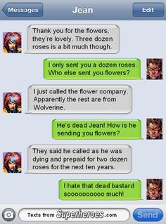 Just every time Cyclops buys flowers he gets outdone by Wolverine