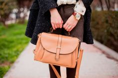 Absolutely in love with the owl blouse and the camel colored satchel purse.