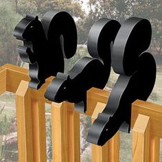 "Squirrel Rail Sitter Patterns.  Black Squirrel Rail Sitters These cool squirrel's attach themselves to any 2X4 railing and go well with our Crow Rail Sitters (#2094) 3 Designs! Largest is 11""H x 16""L  Pattern #2302  $9.95  ( crafting, crafts, woodcraft, pattern, woodworking, yard art, animal ) Pattern by Sherwood Creations"