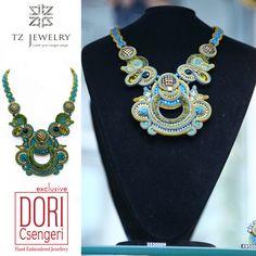 Unique Necklace from Dori Csengeri #DoriCsengeri #soutache #exclusive #jewelry #TZjewelry #unique #necklace #statementnecklace