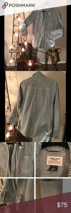 💋FLASH SALE!💋 Ralph Lauren 1967 Green Label Jacket style is definitely a statement piece!  Blue and off- white striped 100% cotton!  Unique silver hardware hooks down the front!  Two small pockets on left & right at the top, and two large pockets on left and right at the bottom.. Red label emblem near one of the pockets, and on back, a zippers at the bottom of the jacket, one on the right and one of the left. Metal hardware buttons at the cuffs; right cuff button has an area of patina…
