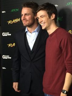 Stephen Amell and Grant Gustin at 'The Flash Vs. Arrow'/ 'The Brave & The Bold' crossover event screening at The Crest Theatre, Westwood, Nov. 22, 2014