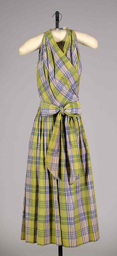Sundress Designer: Claire McCardell (American, 1905–1958) Manufacturer: Townley Frocks (American) Date: 1952 Culture: American Medium: Cotton