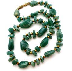 "Green Jade Nugget Bead Necklace Hand Crafted Vintage Brass 19"" Gemstone | eBay"