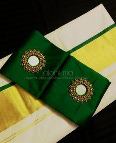Mirror Work Saree Blouse, Mirror Work Blouse Design, Kerala Saree Blouse Designs, Saree Tassels Designs, Kurti Embroidery Design, Embroidery Neck Designs, Fancy Blouse Designs, Bridal Blouse Designs, New Fashion Saree