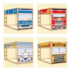 Ikea Kura with stickers http://www.stikkipix.de this would be cute to do as an old car or truck