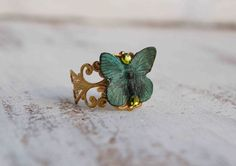 Green BUTTERFLY Ring Golden Filigree Vintage by redtruckdesigns