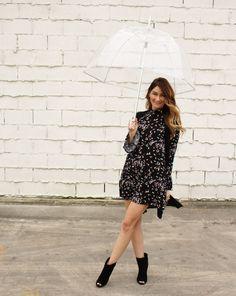 Bell sleeve dress and clear bubble umbrella look. #clearumbrella #bellsleeves