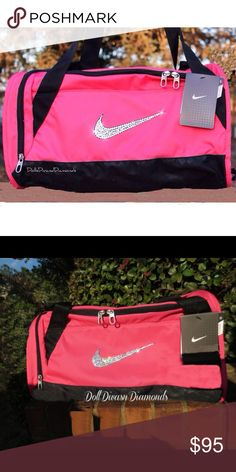 Swarovski Bling Nike Brasilia Duffel Gym Bag Swarovski crystals are applied to the front nike swoosh®.  Genuine swarovski crystals  Nike Duffel Bags are frosted with genuine swarovski xirius rose 2088 crystals and a non-toxic, specialty permanent adhesive. Swarovski's newest and most revolutionary crystals. With extraordinary brilliance and shine, these crystals go unmatched by generic rhinestones. these are custom-made, all sales are final unless item arrives defective or damaged.... Nike…
