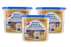 Arm & Hammer Moisture Absorber & Odor Eliminator 14oz Tub, 3 Pack - Eliminates Musty Odors & Freshens Air for Closets, Laundry rooms, Mud Rooms  Eliminates musty odors; no more damp stale smells  Keeps clothes smelling fresh and prevents damp feeling fabric  Just hang it up, no electricity needed  When done, simply dispose in trash and then replace  Get long lasting freshness!