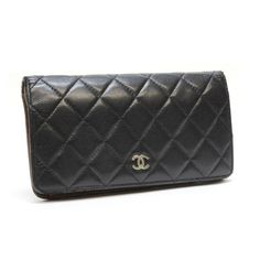 CHANEL Timeless Classic Matelasse Wallets Black Leather A31509