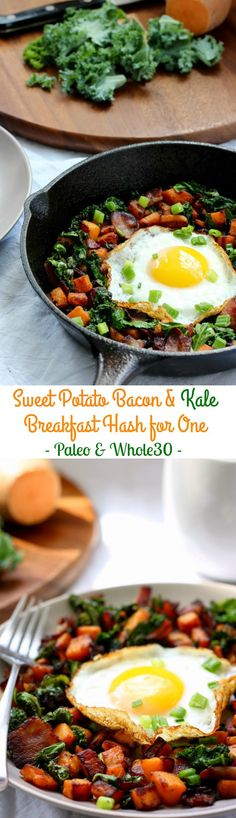 Sweet Potato Bacon and Kale breakfast Hash for one - Paleo and Whole30, grain free, dairy free