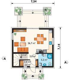 DOM.PL™ - Projekt domu AN KRASNAL CE - DOM AO10-85 - gotowy koszt budowy Compact House, House Plans, Floor Plans, Cabin, Flooring, How To Plan, Bedroom, Home, Tiny Houses