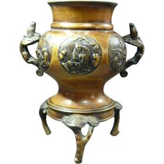 Very Fine Old Japanese Carved Copper  Usubata Ikebana (Copper Vase) with Heavy Relief