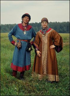 Kievan Rus': excellent.  Silk letnik, hair properly covered.  Man in dome hat, long rubakha overshirt.  V. nice.