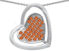 Star K Round Simulated Mexican Orange Fire Opal Heart Shape Pendant Necklace