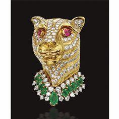 18 KARAT GOLD, DIAMOND AND COLORED STONE BROOCH, DAVID WEBB