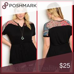 COMING SOON! Gorgeous black tunic with vibrant multi-color shoulder design. Tops Tunics