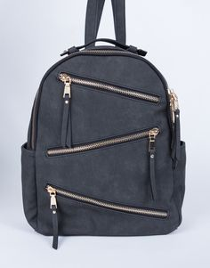 Zig-Zag Zip Up Backpack